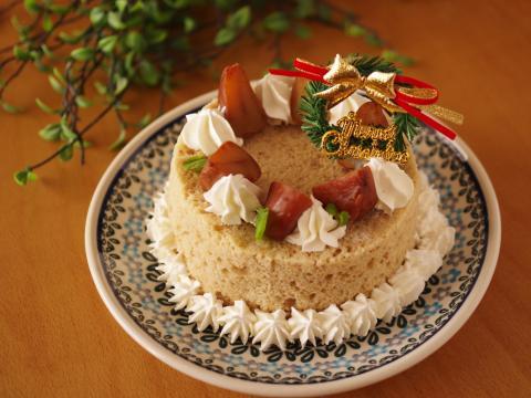 HMと栗で超簡単シフォンケーキ☆クリスマスケーキ