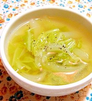 新玉ねぎとキャベツのやさしいコンソメスープ