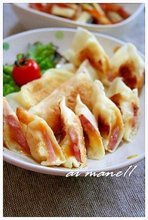 ホワイトソース&チーズ&ハムシュウマイの皮包み焼き