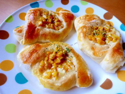 こねないパン・簡単成形でコーンマヨパン(ひし形)