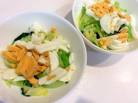 ちょいネバ☆モロヘイヤとキャベツと茹で卵のサラダ