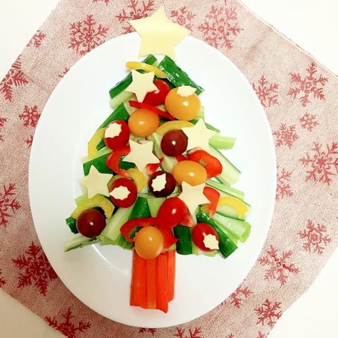 クリスマス 子供とお料理 ツリーサラダ♪