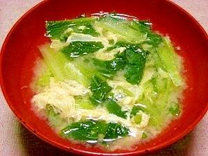 毎日のお味噌汁96杯目*小松菜と卵